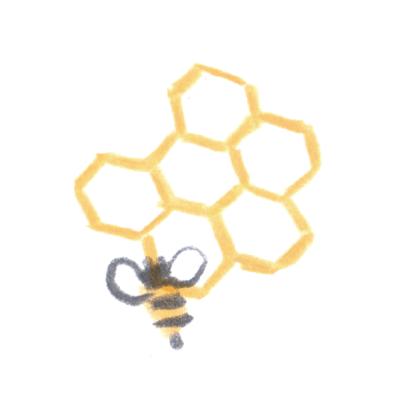 巣にとまるミツバチ